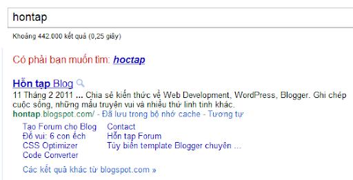 Hontap Blog sitelink
