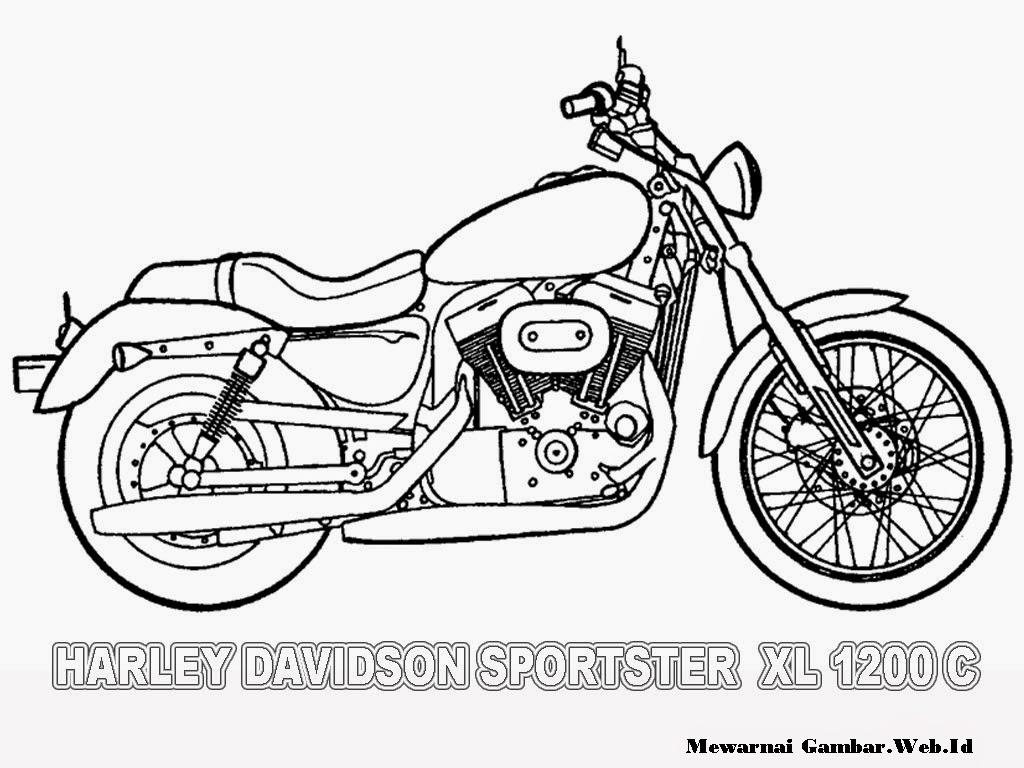 Gambar motor keren gratis untuk diwarnai anak-anak