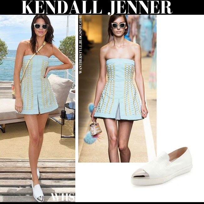 Kendall Jenner in aqua blue gold embellished mini Fendi spring 2015 dress with white silver cap toe flats miu miu what she wore cannes may 21 summer vacation style
