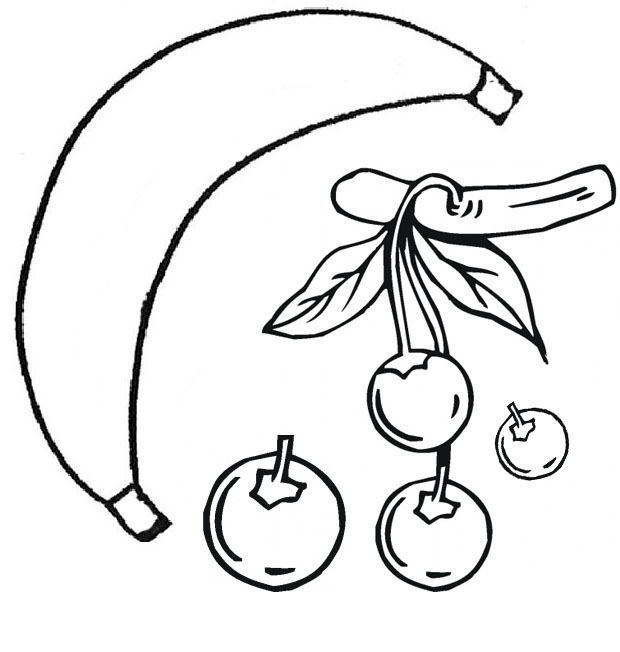Apples And Bananas Coloring Pages : Coloring pages of apples bananas cherries and guavas