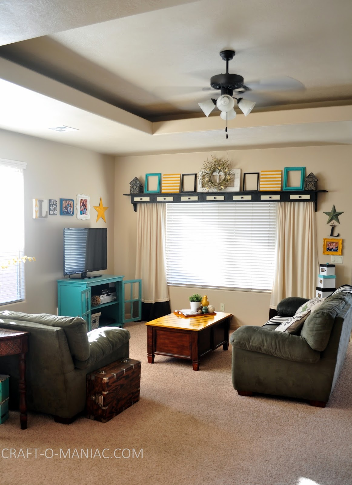 Home Decor~ My Turquoise and Yellow Family Room - Craft-O-Maniac