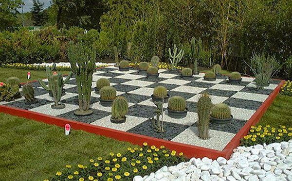 échiquier avec des cactus