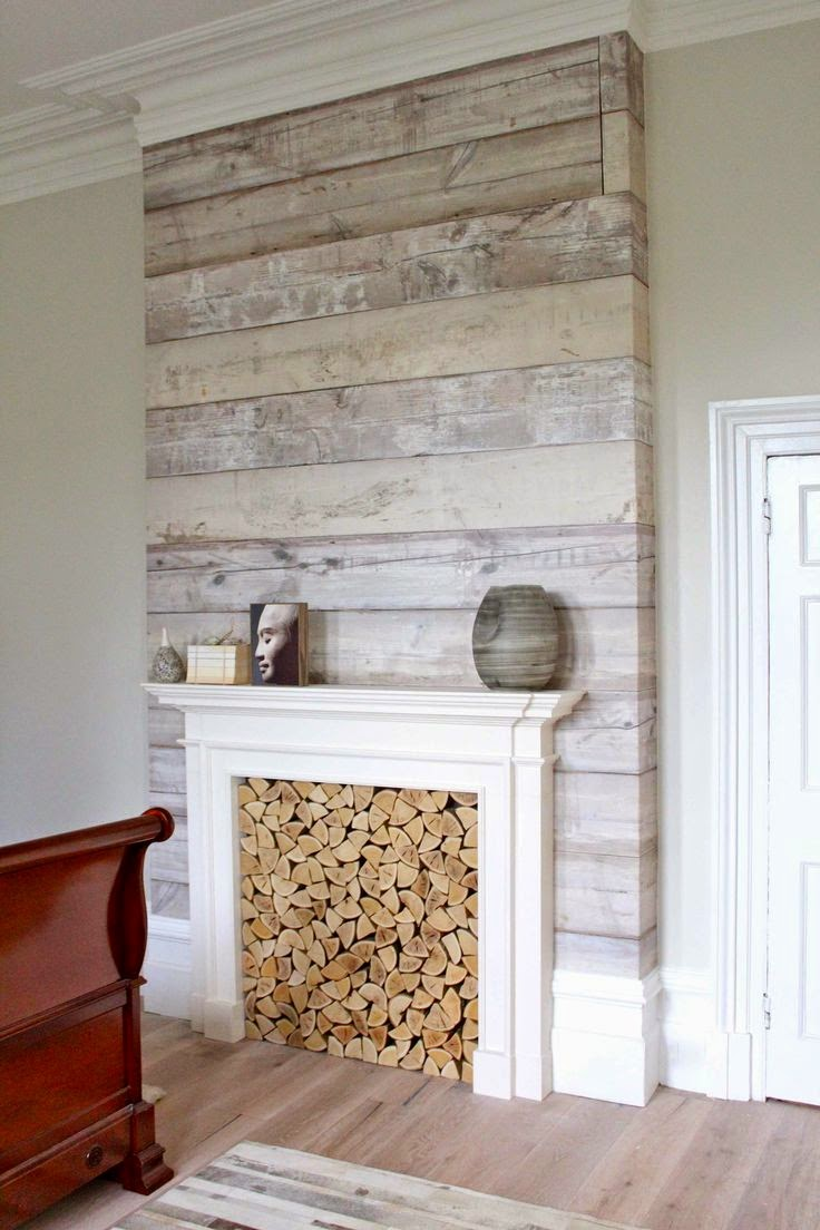 Best diy projects plank wall oh wait that is wallpaper - Chimeneas blancas ...