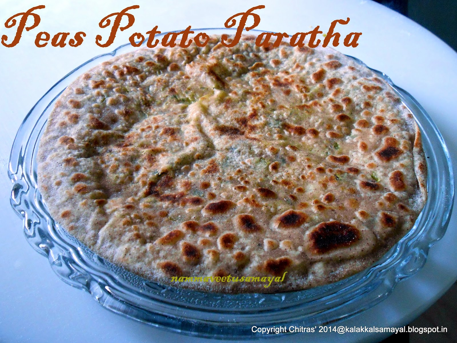 peas-potato paratha