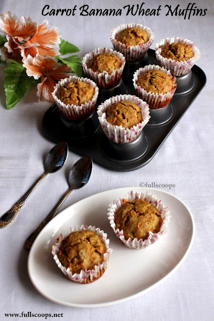 Carrot Banana Wheat Muffins