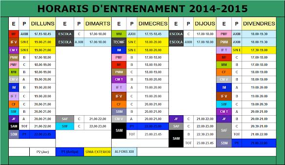 HORARIS 2014-15