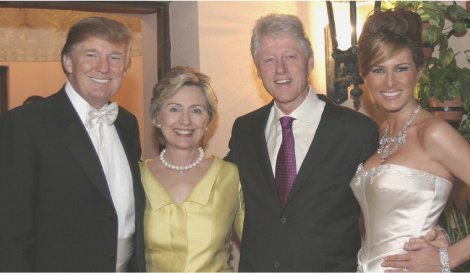 The Trumps and Clintons at Donald's wedding.