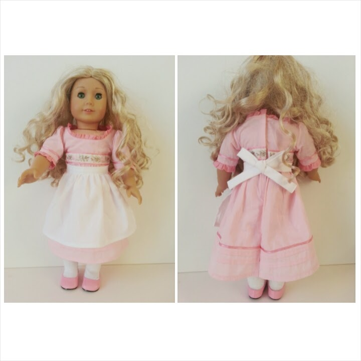 Front and Back American Girl Doll Prairie Apron tutorial for Caroline