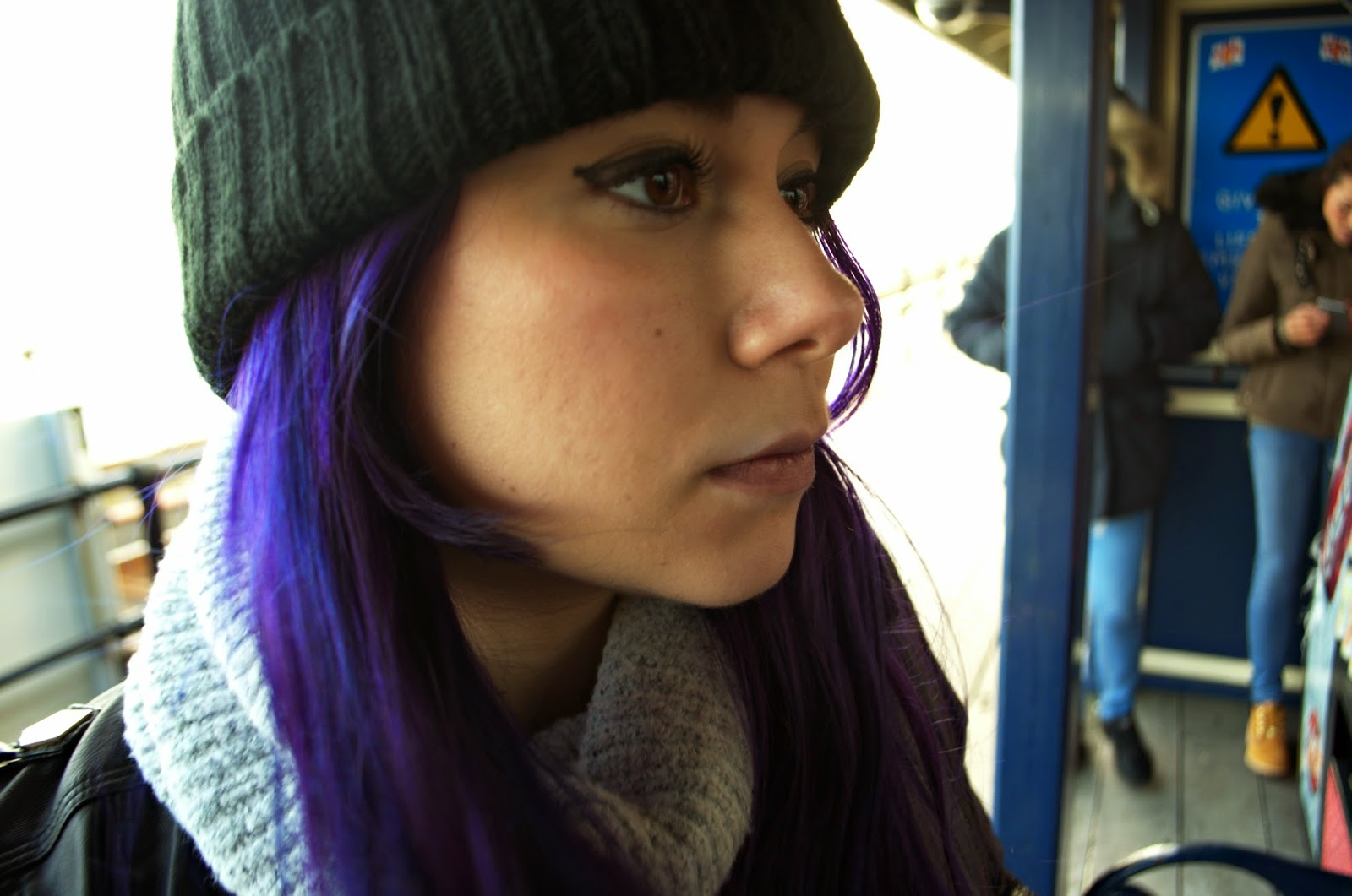 Winter Grunge Grey and Black Outfit of the Day. Purple Hair