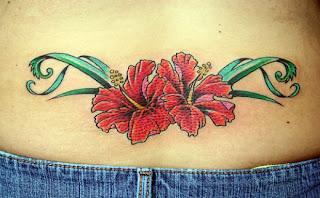Beautiful Hawaiian Flower Tattoo Design for Girls Lower Back