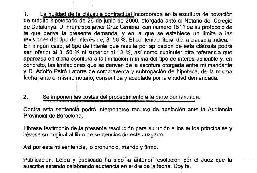 sentencia cláusula suelo Catalunya Banc, Catalunya Caixa