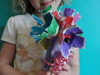 teacher appreciation gift of flowers made from egg cartons