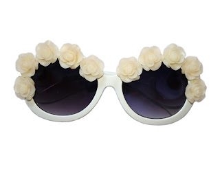 roses and clementines cream circle sunglasses with cream roses embellished on for a vintage look