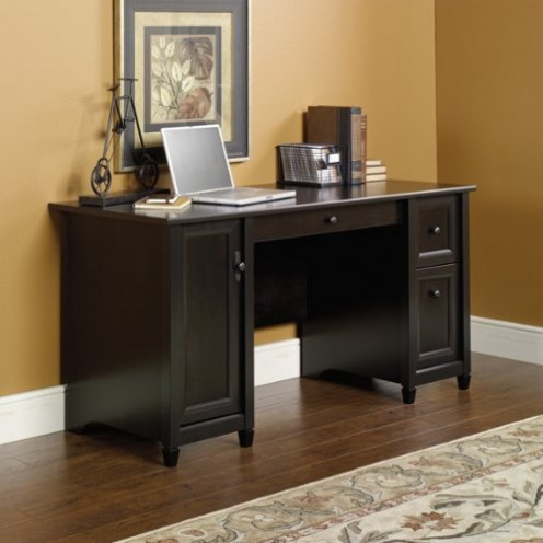 Attirant Computer Desk With Two File Drawers In Black Wood Finish