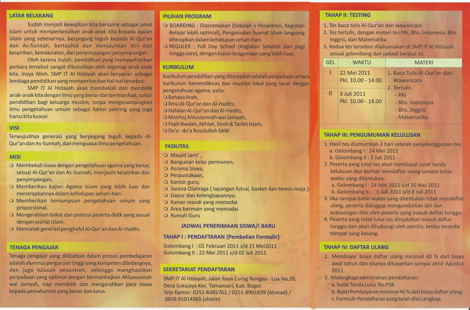 Brosur Penerimaan Siswa Baru SMPIT Al Hidayah Bogor 2011   2012