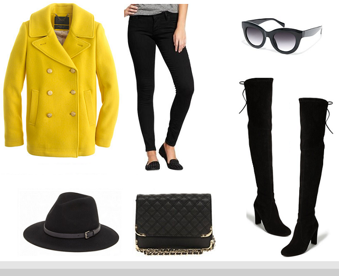 JCrew Majesty Pea Coat, Stuart Weitzman Highland Boots, Zara Chain Bag, Over The Knee Boots Outfits Idea