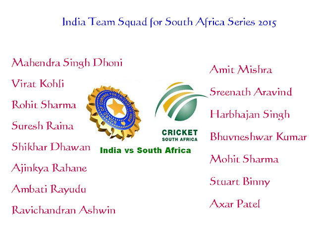 India Team Squad for South Africa Series 2015,india team for south africa 2015,india team squad for t20 world cup 2016,india players for south africa series,indian players,indian team,team squad,2015 south afirca series indian teams,MS Dhoni,Virat Kohli,Rohit Sharma,Dhawan,Raina,Rahane,Ambati Rayudu,Ashwin,Amit Mishra,Aravind,Harbhajan Singh,Bhuvneshwar Kumar,Mohit Sharma,Stuart Binny,Axar Patel,indian team players