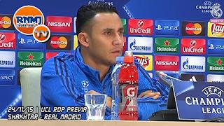 Keylor Navas en la rueda de prensa previa al Shakhtar Donetsk - Real Madrid
