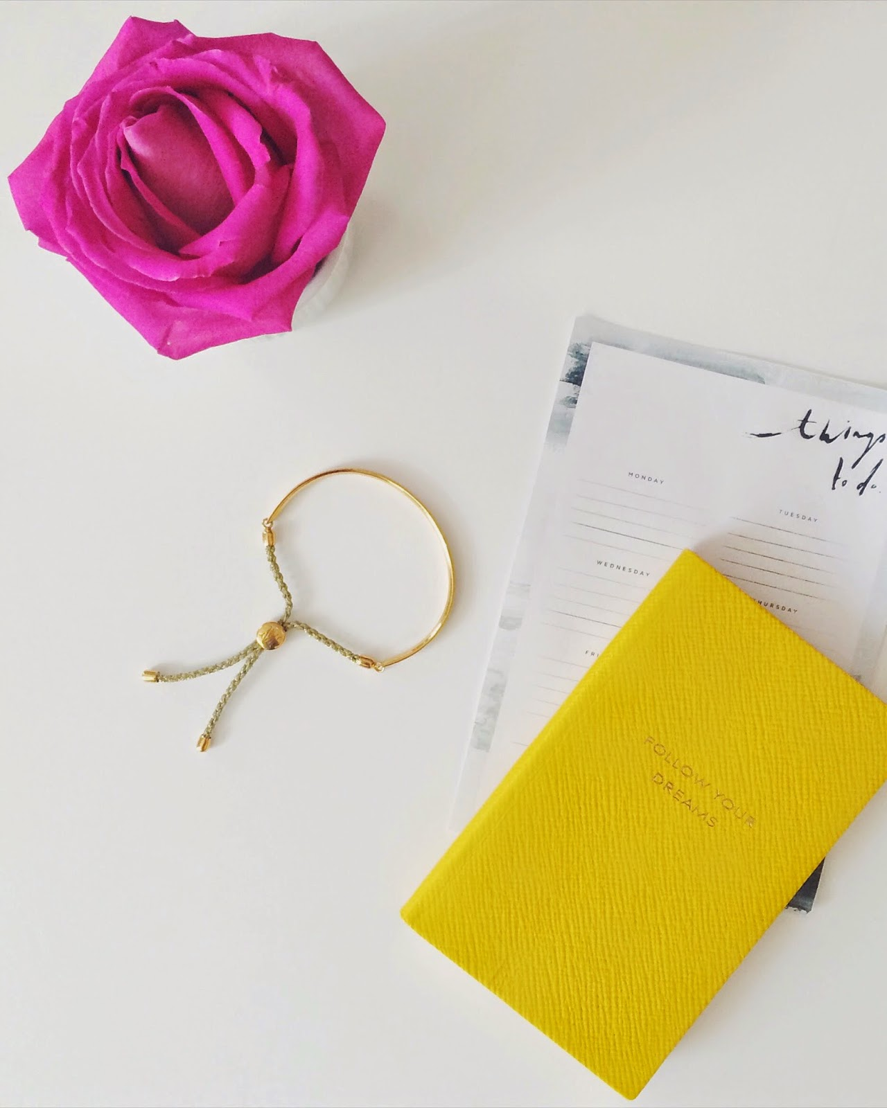 smythson diary, smythson yellow diary, monica vinader, monica vinader bracelet, monica vinader fiji bracelet, a pair and a spair to do list