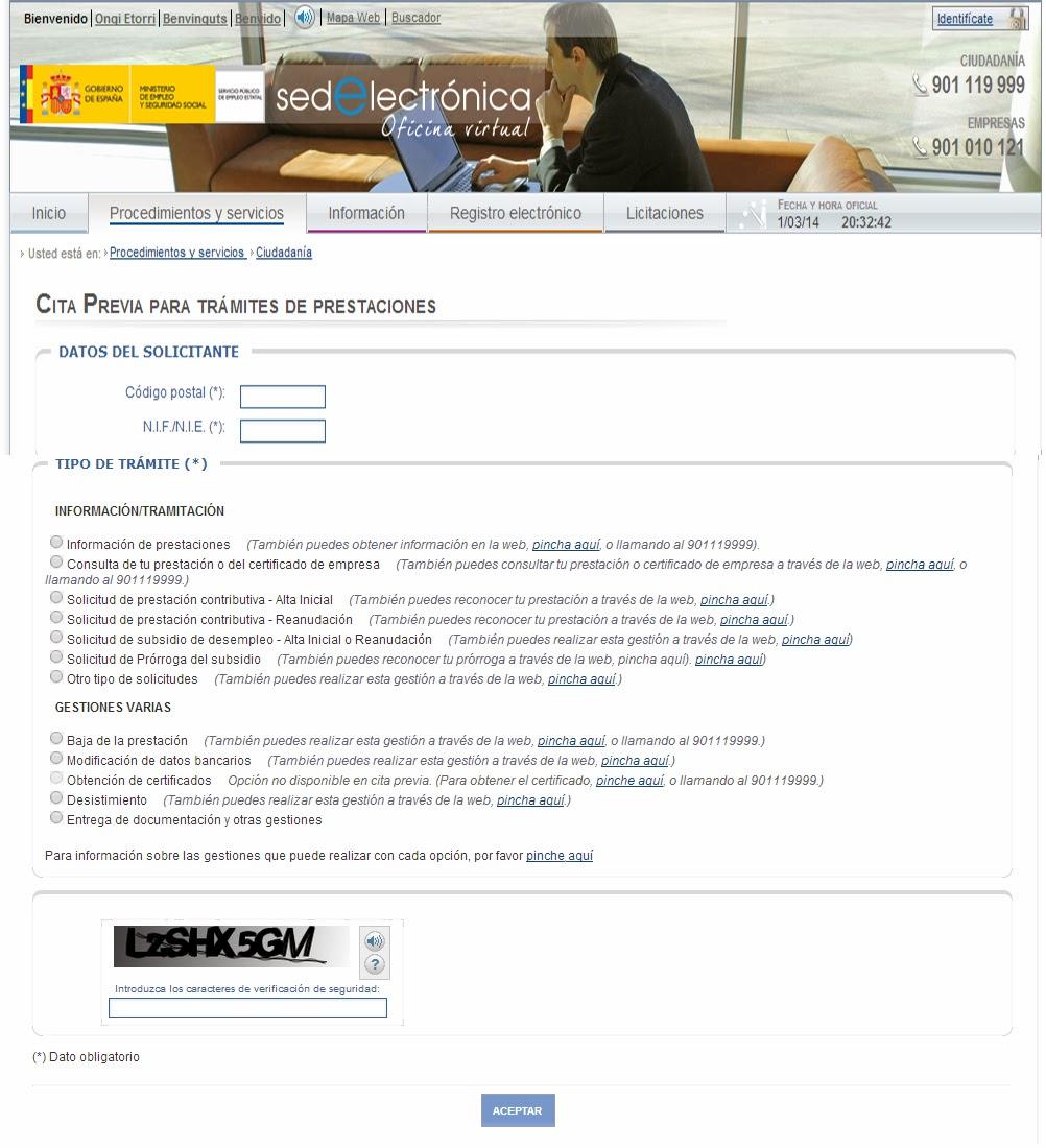 Empleo y prestaciones cita previa por internet para el for Oficina de empleo por codigo postal