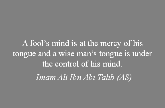 A fools mind is at the mercy of his tongue and a wise man's tongue is under the control of his mind. -Imam Ali (AS)