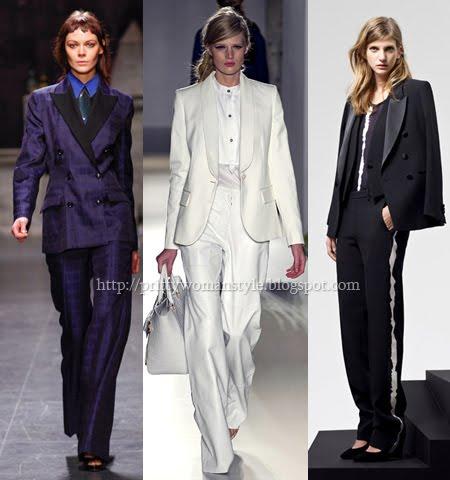 Дамски костюми с мъжки тип сака и широки прави панталони