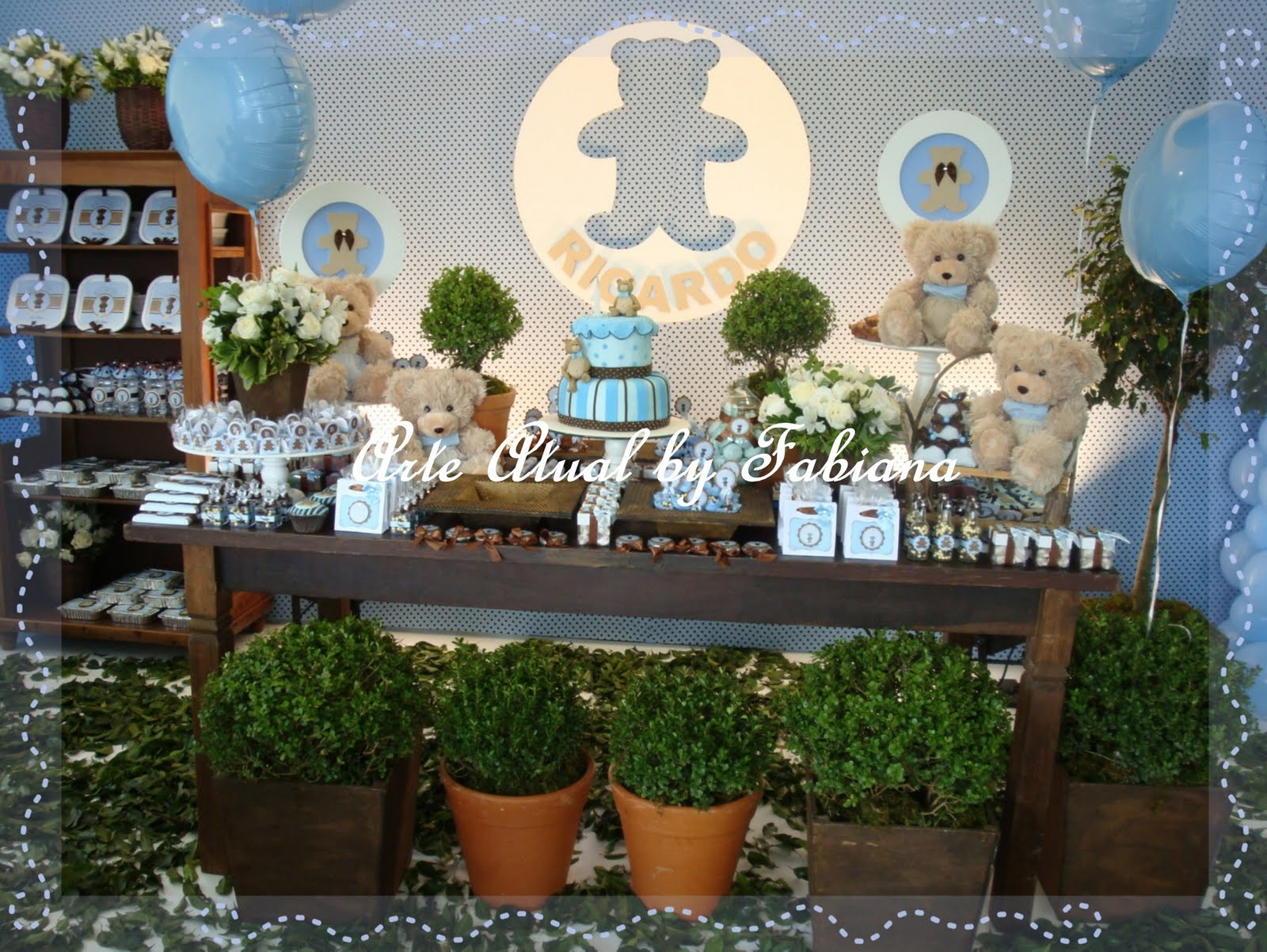 decoracao festa urso azul e marrom: ursinhos e as cores azul e marrom combinação perfeita para compor