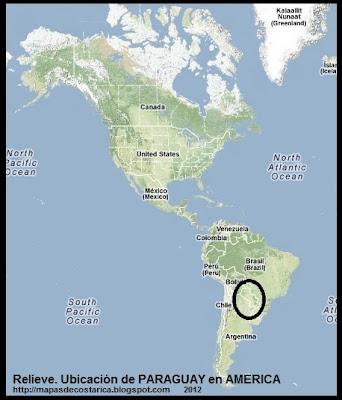Mapa de Relieve.Ubicación de PARAGUAY en AMERICA