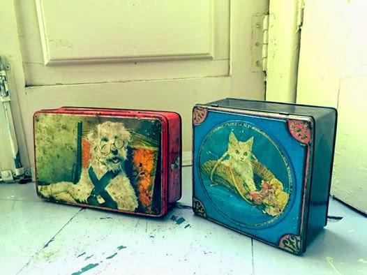 vintage, latas, tin boxes, coleccionáveis, decoração