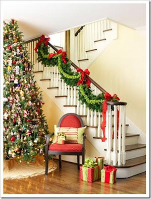 decoración de escalera navidad