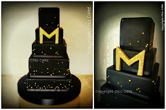 wedding cake black & gold
