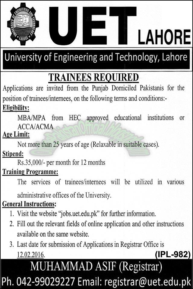 Trainee UET Lahore jobs