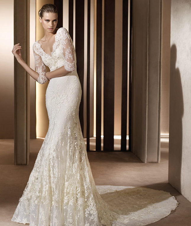 long sleeve lace wedding dress reference for wedding decoration
