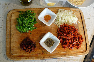 Перловый салат с чорризо-приготовление
