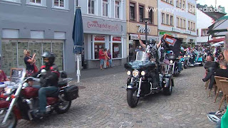 Harley Davidson convoy leaving Wittlich