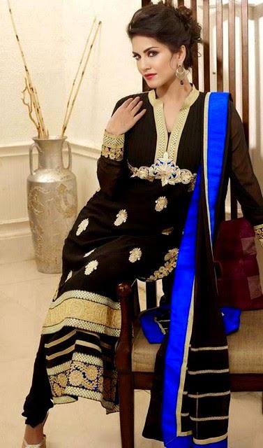 Sunny Leone in Pretty Salwar Kameez Dresses