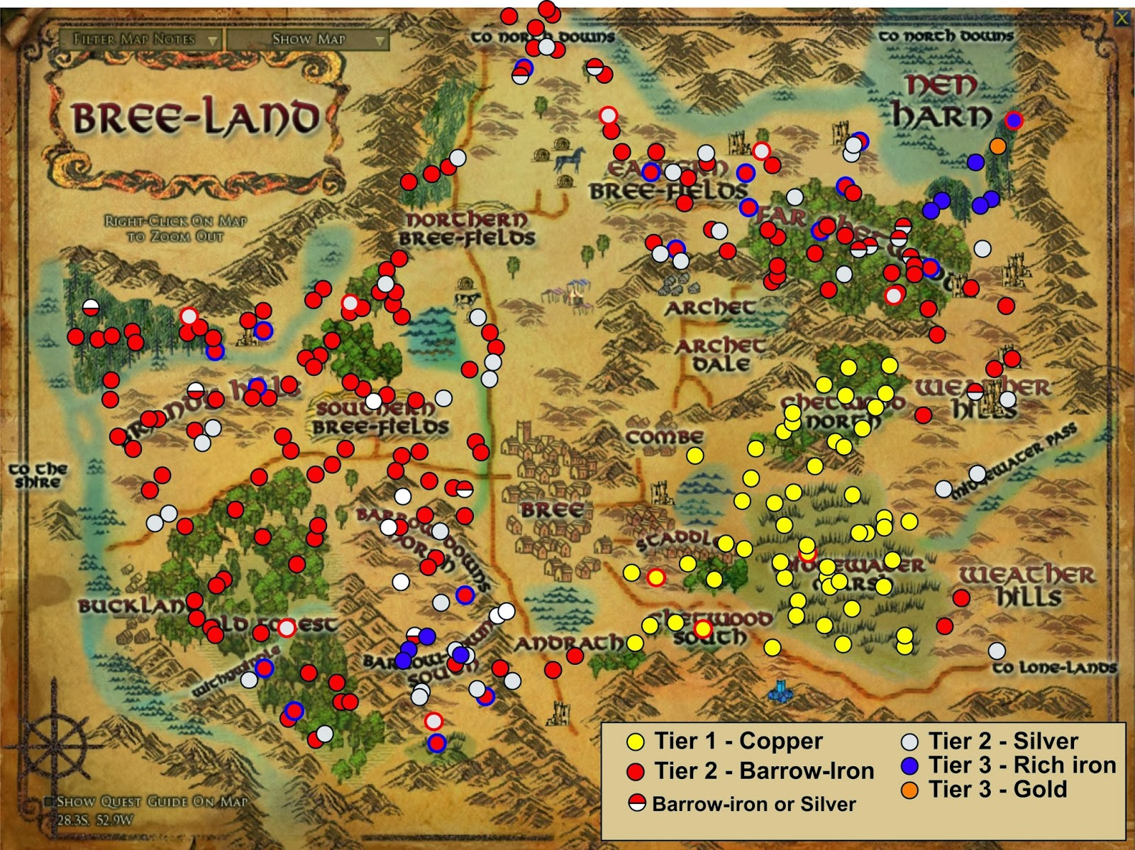 Wonderful Places In LOTROs Middle Earth Ore In Lotro And Where - Ore map