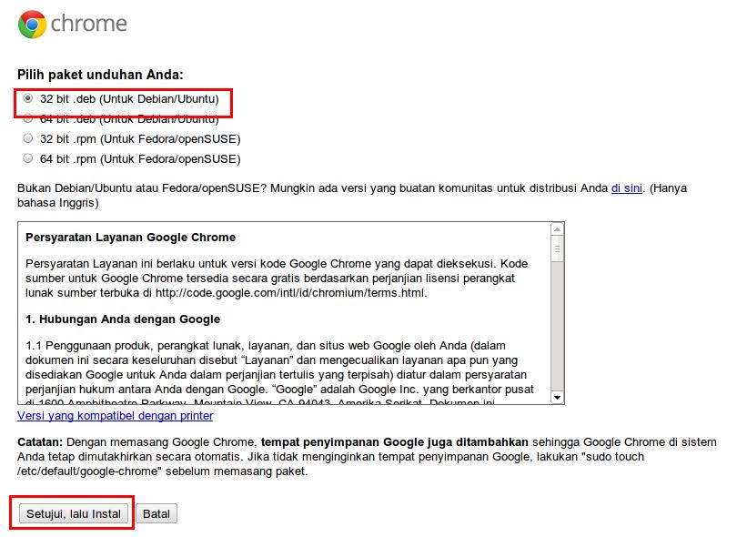 Halaman download Google Chrome untuk Linux