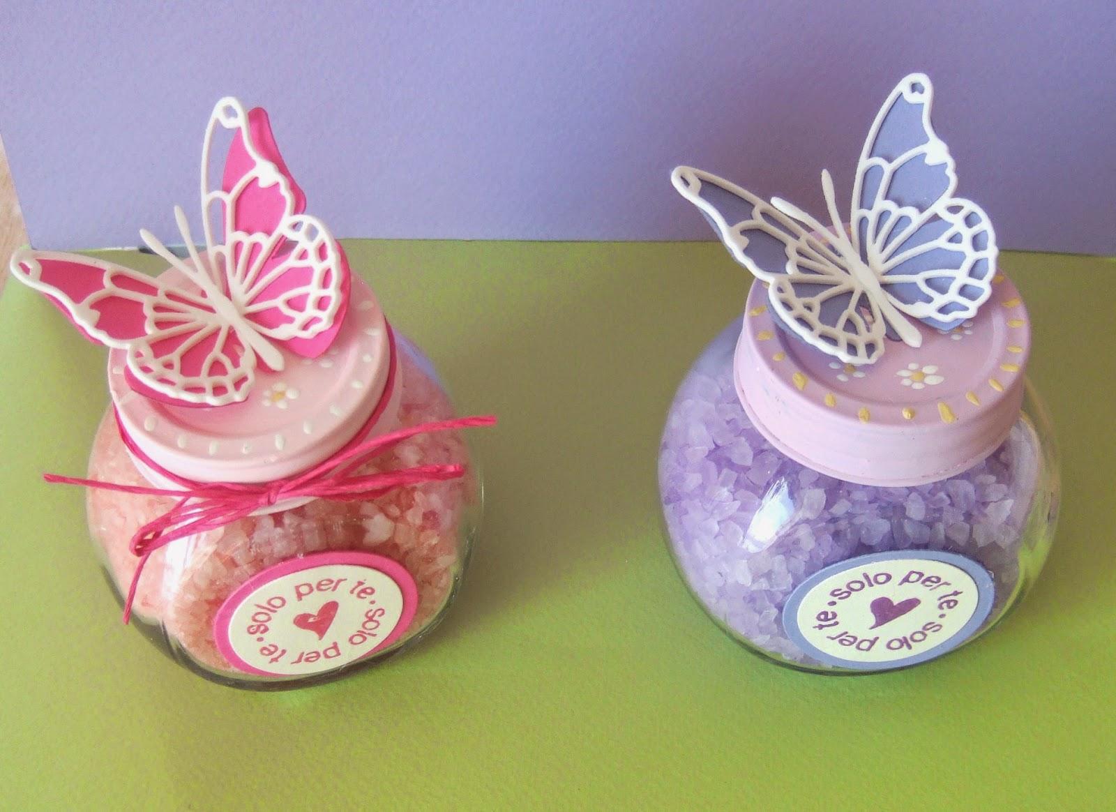 Un giardino di fantasia vasetti porta sali da bagno con farfalla - Porta sali da bagno ...