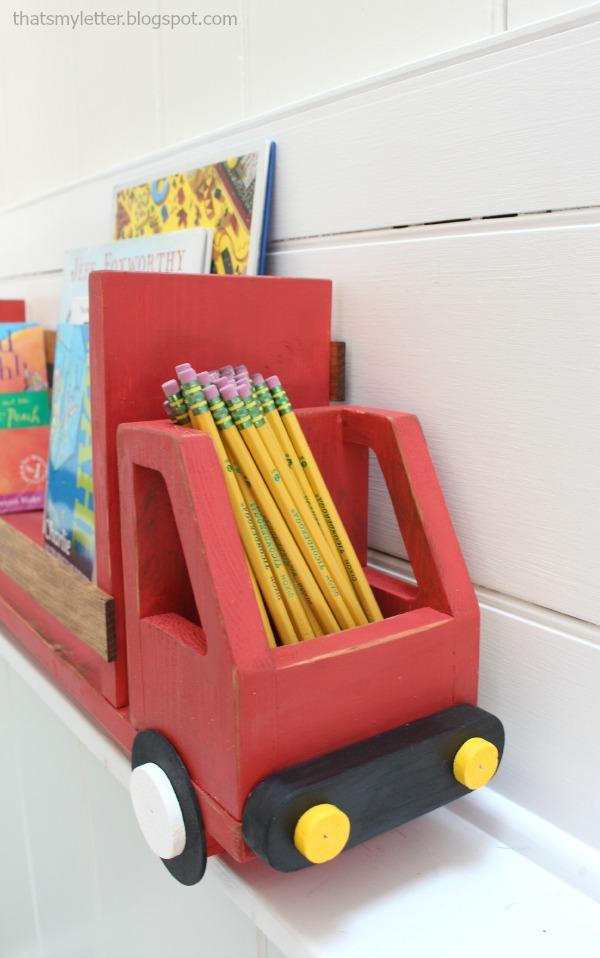 diy truck shelf with pencil compartment