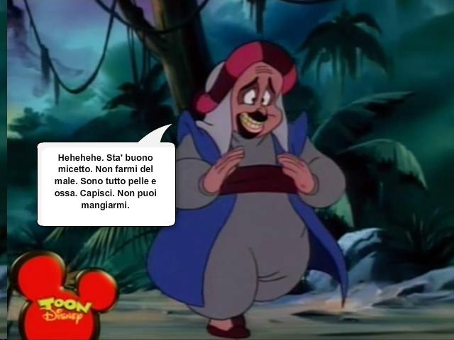 Scena divertente dalla puntata della serie animata di aladdin