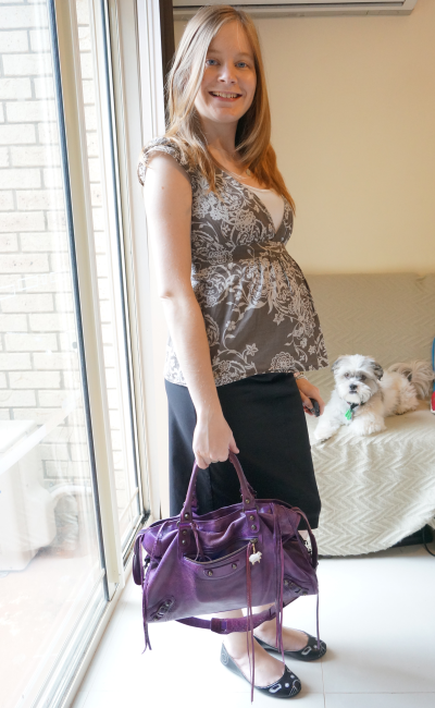 wearing non maternity empire waist tie tops in the third trimester