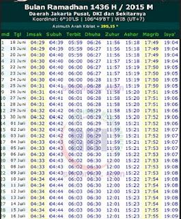 Terbaru Jadwal Imsakiyah Ramadhan 2015 - 1436 H