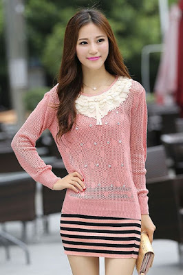 Model Sweater Korea Wanita Pink Modis
