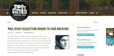 PHIL OCHS COLLECTIONS ADDED TO WOODY GUTHRIE