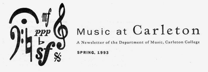 Carleton College music department newsletter header 1993