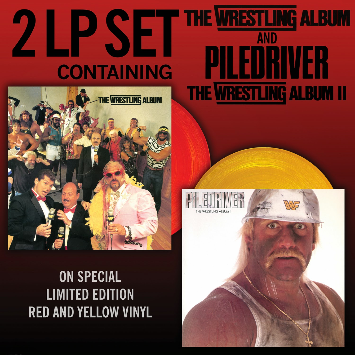 Record Store Day 2015 Exclusive WWE The Wrestling Album & Piledriver: The Wrestling Album 2 Double LP Colored Vinyl Records