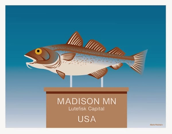 Lutefisk Capital Madison Minnesota - MN Roadside Attraction Travel Poster