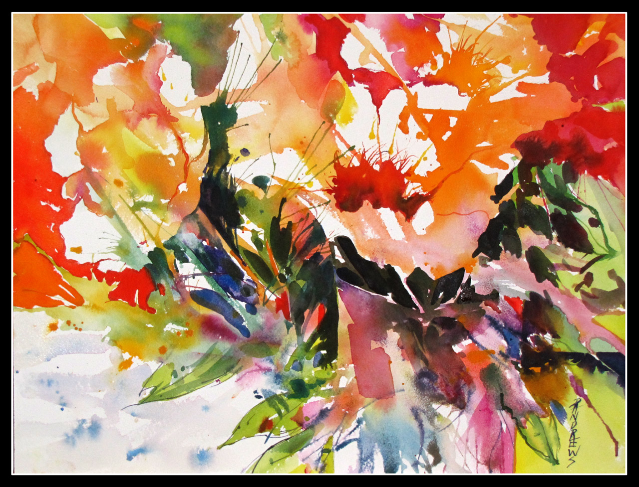 Bountiful abstract floral watercolor texas artist rae andrews