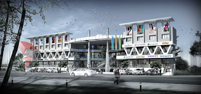 3d architectural exterior view of mall,3d mall design
